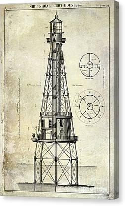 Ship Shoal Light House Blueprint Canvas Print by Jon Neidert