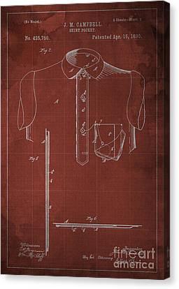 Shirt Pocket Blueprint Patent Canvas Print by Pablo Franchi