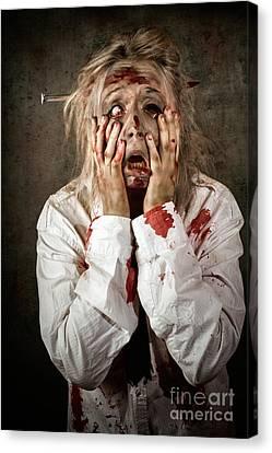 Shock Horror. Surprised Businesswoman Zombie Canvas Print