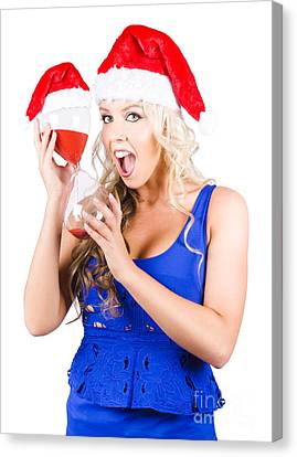 Shocked Woman With Minutes Left To Christmas Time Canvas Print by Jorgo Photography - Wall Art Gallery