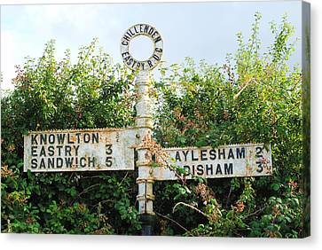 Wayside Cross Canvas Print - Signpost by Chevy Fleet