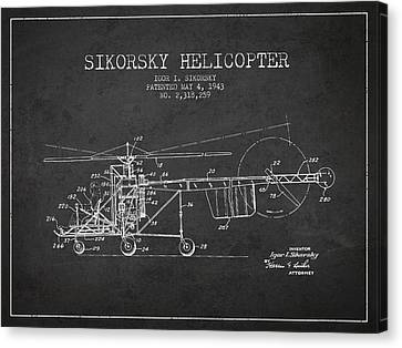 Helicopter Canvas Print - Sikorsky Helicopter Patent Drawing From 1943 by Aged Pixel