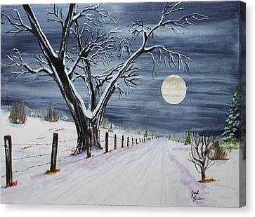 Jack Brauer Canvas Print - Silent Cold Night by Jack G  Brauer