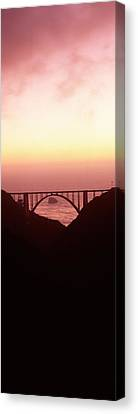 Silhouette Of A Bridge At Sunset, Bixby Canvas Print