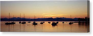 Silhouette Of Boats In A Lake, Lake Canvas Print