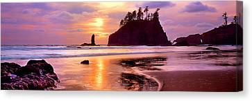 Silhouette Of Sea Stacks At Sunset Canvas Print by Panoramic Images