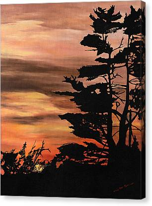 Canvas Print featuring the painting Silhouette Sunset by Mary Ellen Anderson