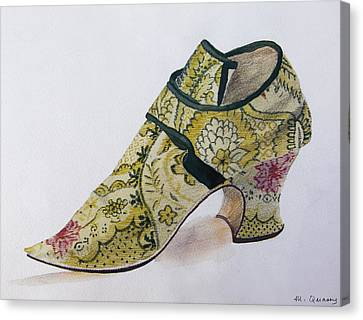 Silk Brocade Shoe - Late 17th Century Canvas Print by Mary Quarry