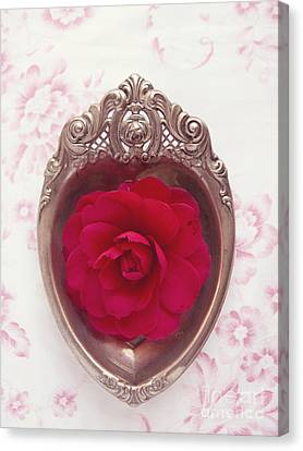 Silver Heart - Red Camellia Canvas Print by Cindy Garber Iverson