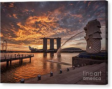 Flyers Art Canvas Print - Singapore Skyline by Colin and Linda McKie