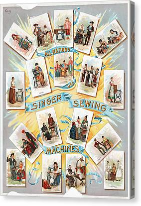 Singer Sewing Machine Ad Canvas Print by Granger