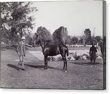 Sir Hugh Barnes With His Horse Canvas Print