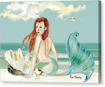 Siren Of The Sea Canvas Print by Anne Beverley-Stamps