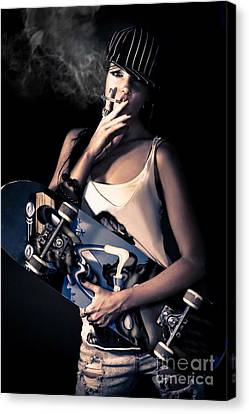 Skater Girl Smoking A Cigarette Canvas Print by Jorgo Photography - Wall Art Gallery