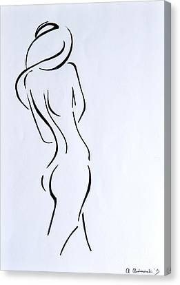 Woman Drawings Drawings Canvas Print - Sketch Of A Nude Woman by Anna Androsovski