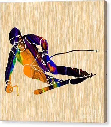 Ski Painting Canvas Print by Marvin Blaine