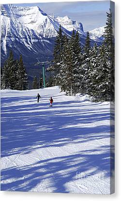 Skiing In Mountains Canvas Print