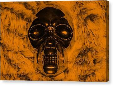 Skull In Orange Canvas Print