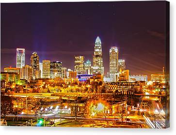 Canvas Print featuring the photograph Skyline Of Uptown Charlotte North Carolina At Night by Alex Grichenko