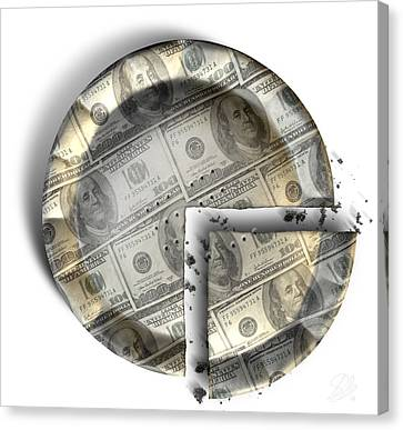 Slice Of Us Dollar Money Pie Canvas Print by Allan Swart