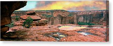 Slickrock Waterpocket Pools Reflect Canvas Print