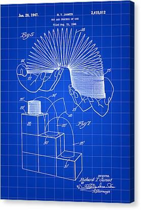 Slinky Patent 1946 - Blue Canvas Print