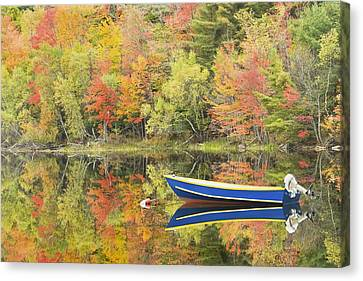 Small Motor Boat In Fall Torsey Pond Readfield Maine Canvas Print