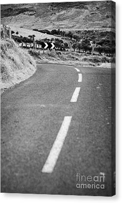 Small Narrow Country Road Leading To Dangerous Bend In County Antrim Northern Ireland Canvas Print by Joe Fox