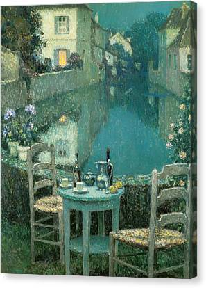 Small Table In Evening Dusk Canvas Print