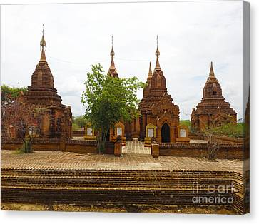 Canvas Print featuring the photograph Smaller Temples Next To Dhammayazika Pagoda Built In 1196 By King Narapatisithu Bagan Burma by Ralph A  Ledergerber-Photography