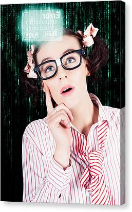 Scan Canvas Print - Smart Woman Hacking Network Access Code by Jorgo Photography - Wall Art Gallery