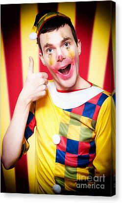 Smiling Circus Clown Standing Inside Bigtop Tent Canvas Print by Jorgo Photography - Wall Art Gallery