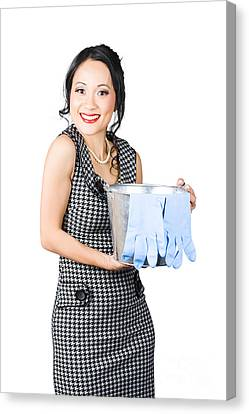 Smiling Female Cleaner Ready To Start Housework Canvas Print by Jorgo Photography - Wall Art Gallery