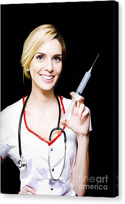 Smiling Female Doctor With Big Syringe Canvas Print