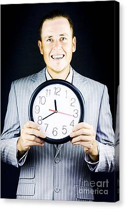 Smiling Man In Suit Holding A Clock Canvas Print by Jorgo Photography - Wall Art Gallery