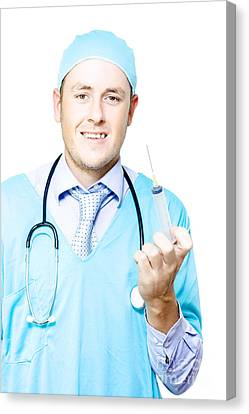 Smiling Medical Doctor With Needle And Syringe Canvas Print