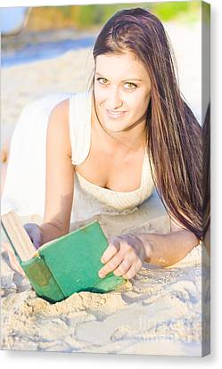 Smiling Person Relaxing With Book Canvas Print