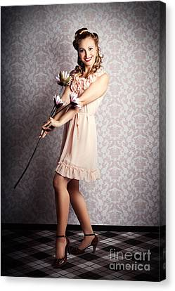 Smiling Retro Floral Girl In Elegant Pink Fashion Canvas Print by Jorgo Photography - Wall Art Gallery