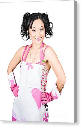 Smiling Spring Cleaning Woman. Isolated Housework  Canvas Print by Jorgo Photography - Wall Art Gallery