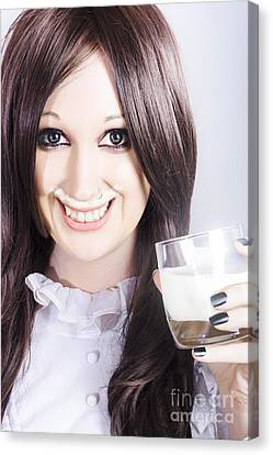 Woman Drinking Canvas Print - Smiling Woman Drinking Milk With A Milky Moustache by Jorgo Photography - Wall Art Gallery