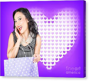 Smiling Woman With A Valentines Day Gift Bag Canvas Print
