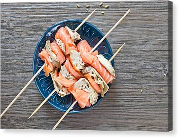 Smoked Salmon And Grilled Artichoke Canvas Print