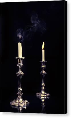 Flickering Light Canvas Print - Smoking Candle by Amanda Elwell