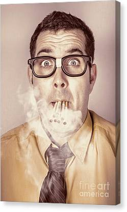 Smoking Nerd Businessman Under Work Stress Canvas Print