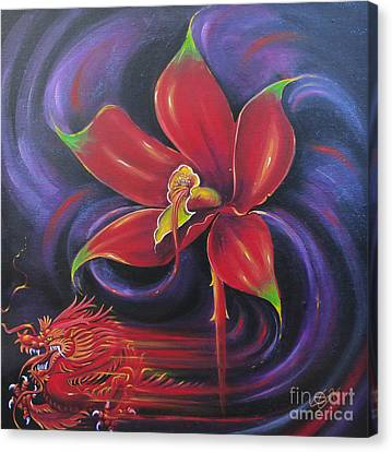 Canvas Print featuring the painting Snap Dragon by S G