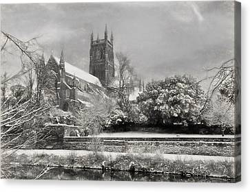 White River Scene Canvas Print - Snow Covered Cathedral 2 by Roy Pedersen