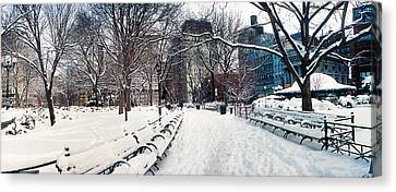 Snow Covered Park, Union Square Canvas Print by Panoramic Images