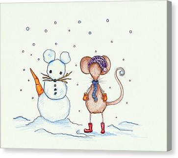 Snow Mouse And Friend Canvas Print by Sarah LoCascio