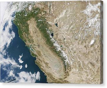 Snow On The Sierra Nevada Canvas Print by Nasa