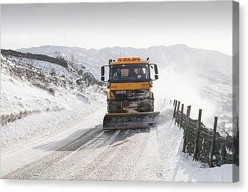 Snow Plough At Work Canvas Print